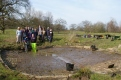 Volunteers and the finished cattle pond