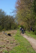 Volunteers at work on widening the path