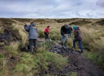 Volunteers getting started on the footpath and drainage