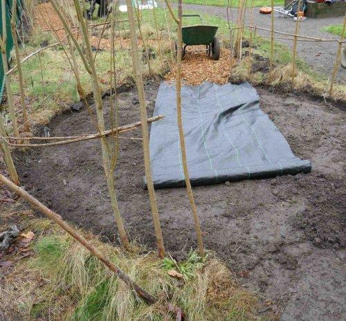 Laying membrane and woodchip