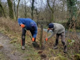 Volunteers - working on removing fence