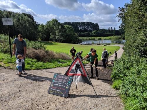 Volunteers working on path